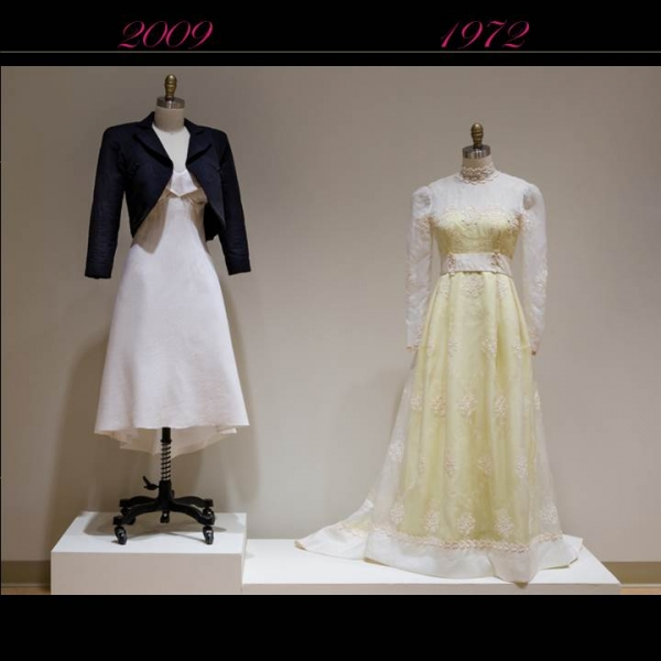 Yellow lace dress from 1972 and 2009 white dress with navy blue cropped jacket