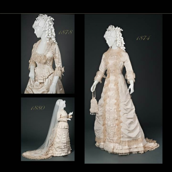 Three photos of white wedding dresses on mannequins dated 1878, 1874, 1880