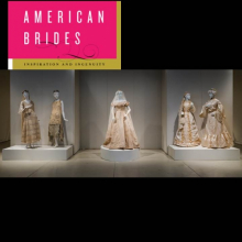 """Pink """"American Brides"""" graphic with photo of five white historic dresses"""