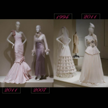 Four contemporary wedding dresses in white gallery on white mannequins