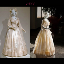 Pink text 1844 with two photos of an 1840s white wedding dress on mannequin