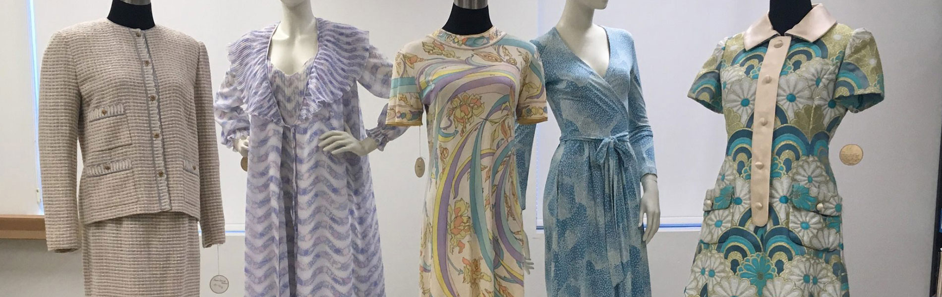 Five patterned pastel garments, including designs by Emilio Pucci and Coco Chanel